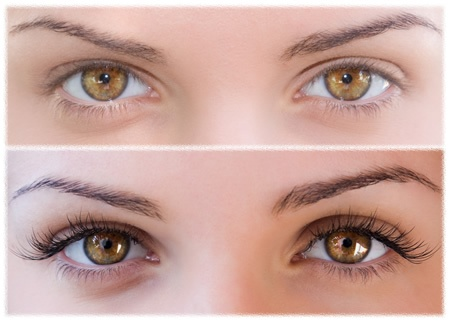 before and after photo of having eye lash extensions applied